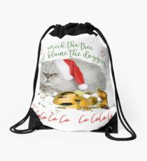 Funny Christmas Cat Falalalala Drawstring Bag