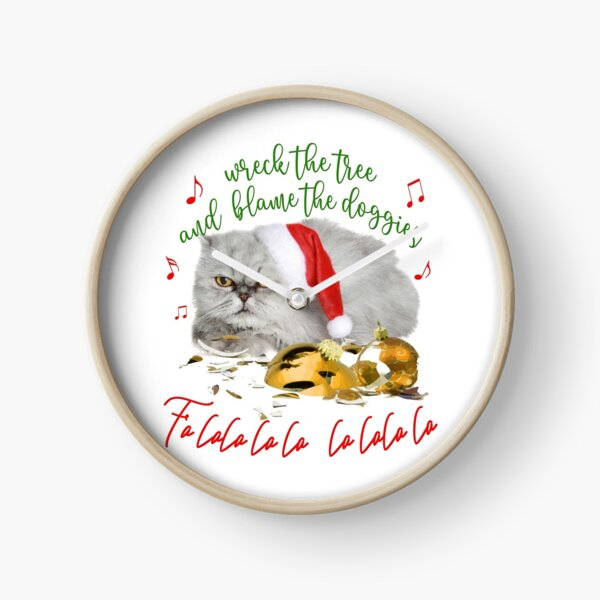 Funny Christmas Cat Falalalala Clock