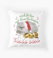 Funny Christmas Cat Falalalala Throw Pillow