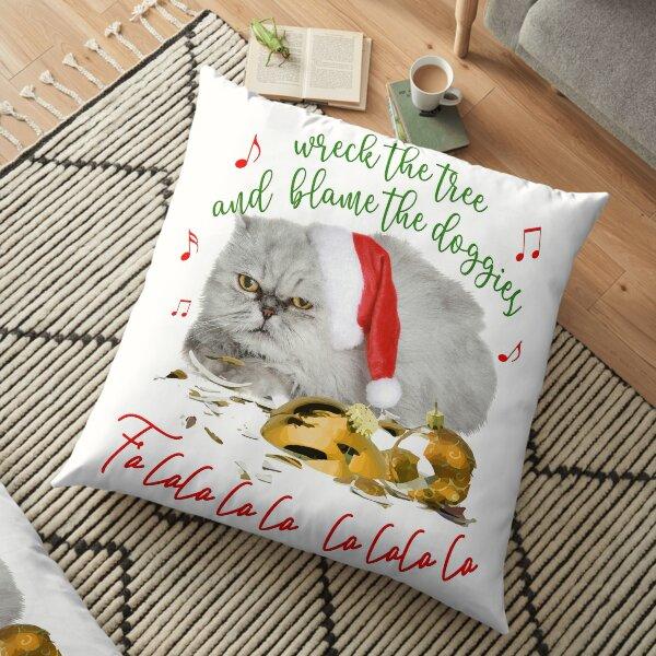Funny Christmas Cat Falalalala Floor Pillow