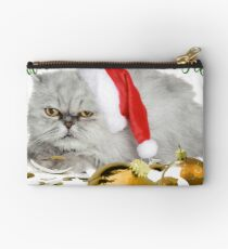 Funny Christmas Cat Falalalala Zipper Pouch