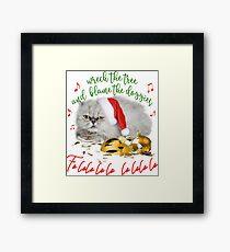 Funny Christmas Cat Falalalala Framed Print