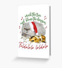 Funny Christmas Cat Falalalala Greeting Card
