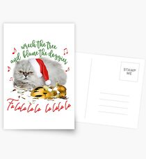 Funny Christmas Cat Falalalala Postcards