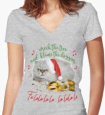 Funny Christmas Cat Falalalala Fitted V-Neck T-Shirt
