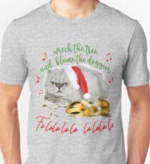 Funny Christmas Cat Falalalala Slim Fit T-Shirt