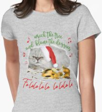 Funny Christmas Cat Falalalala Fitted T-Shirt