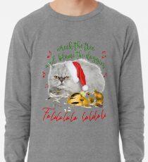 Funny Christmas Cat Falalalala Lightweight Sweatshirt