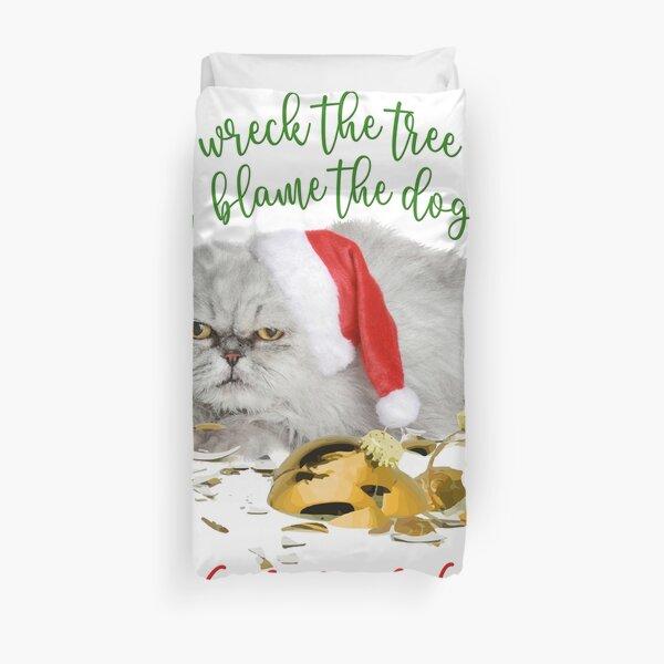 Funny Christmas Cat Falalalala Duvet Cover
