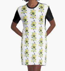 Yellow Flower Spray Graphic T-Shirt Dress