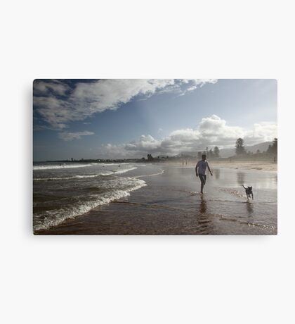 Beach Running Metal Print