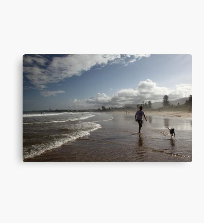 Beach Running Canvas Print