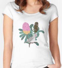 Australian Native Banksia - Australiana decor - Australian Native Bird - Diamond Dove Fitted Scoop T-Shirt