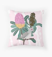 Australian Banksia - Australiana decor - Diamond Dove - Australian Native Bird  Throw Pillow