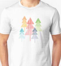 Forest Pine Trees Geometric Pastel Scandinavian Slim Fit T-Shirt