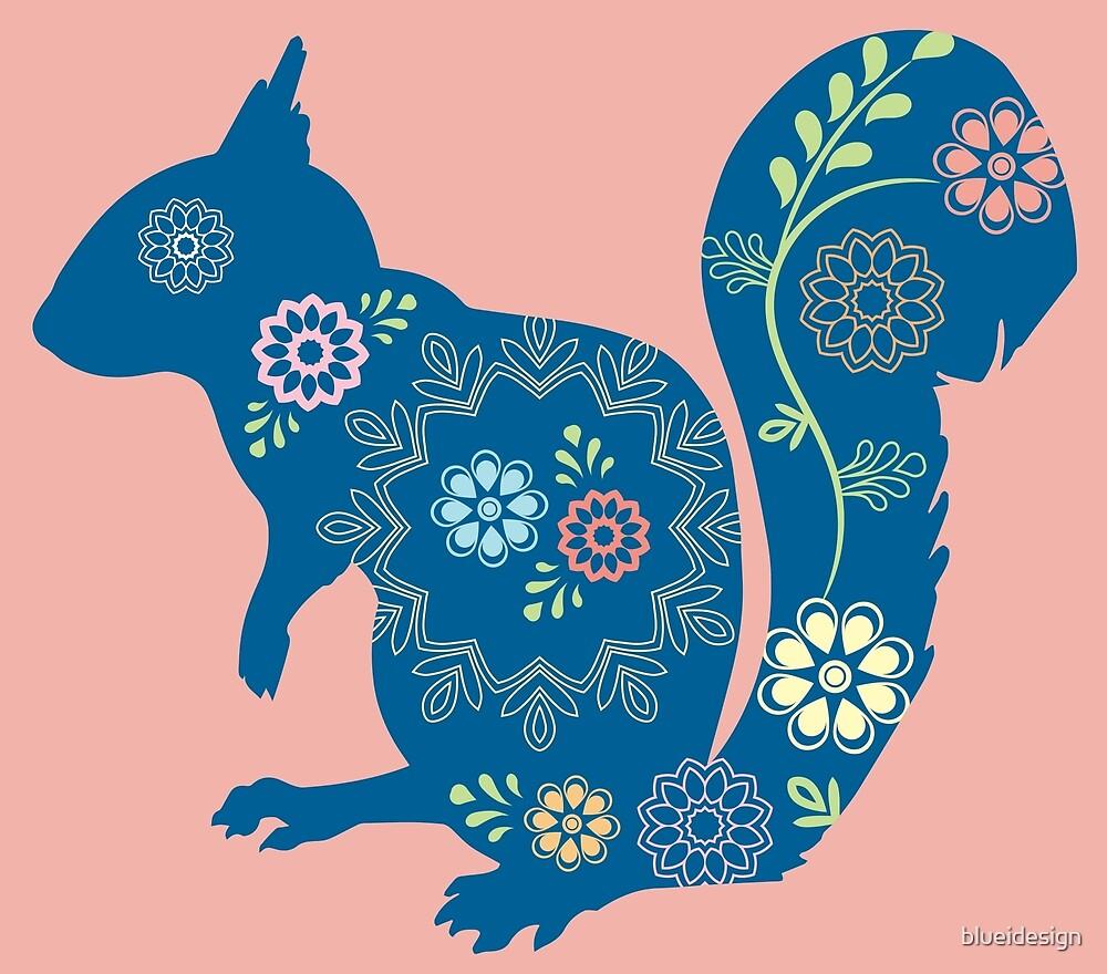 Squirrel Woodland Flowers by blueidesign