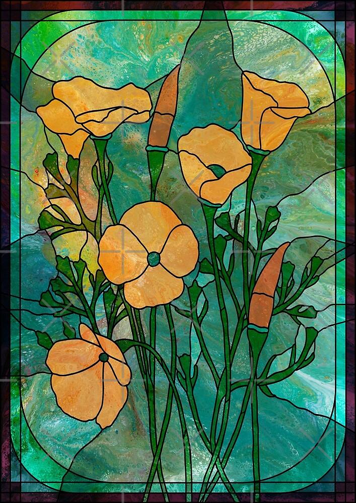 Orange Poppies: fluid art, stained glass style by Kathryn Andersen