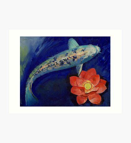 Gin Matsuba Koi and Lotus Art Print