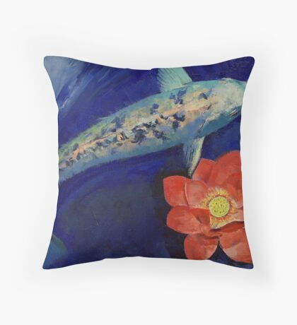 Gin Matsuba Koi and Lotus Throw Pillow