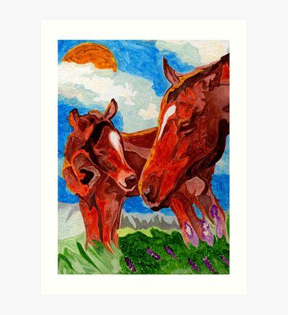 Mama & Baby Horses Art Print