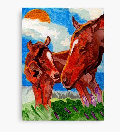 Mama & Baby Horses Canvas Print