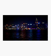 Panoramic View of Wan Chai Hong Kong by Night Photographic Print