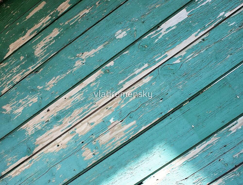 Green wooden boards diagonal image by vladromensky