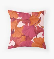 Autumn Ginkgo Leaves Throw Pillow