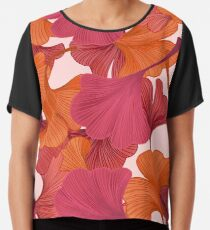 Autumn Ginkgo Leaves Chiffon Top