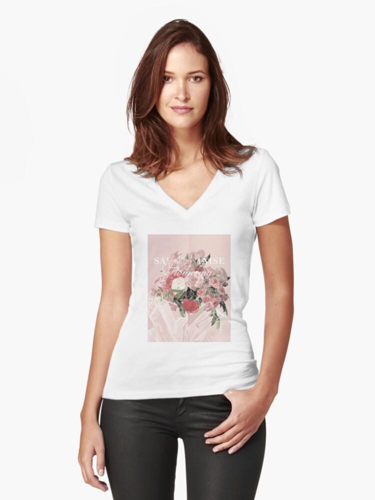 sasaki haise Women's Fitted V-Neck T-Shirt Front