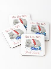 Funny Christmas Cat Merry Kissmyass Coasters
