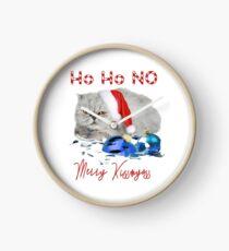 Funny Christmas Cat Merry Kissmyass Clock
