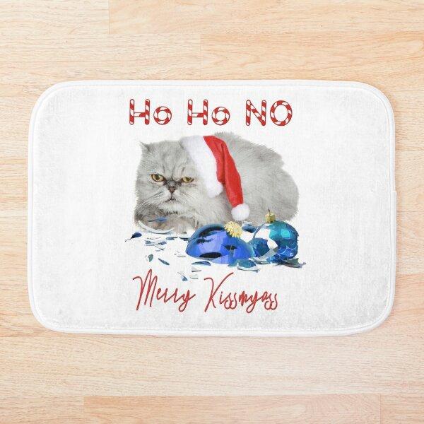 Funny Christmas Cat Merry Kissmyass Bath Mat