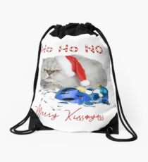 Funny Christmas Cat Merry Kissmyass Drawstring Bag
