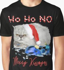 Funny Christmas Cat Merry Kissmyass Graphic T-Shirt