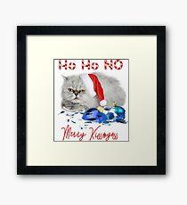 Funny Christmas Cat Merry Kissmyass Framed Print