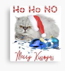 Funny Christmas Cat Merry Kissmyass Metal Print