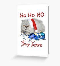 Funny Christmas Cat Merry Kissmyass Greeting Card
