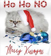 Funny Christmas Cat Merry Kissmyass Poster