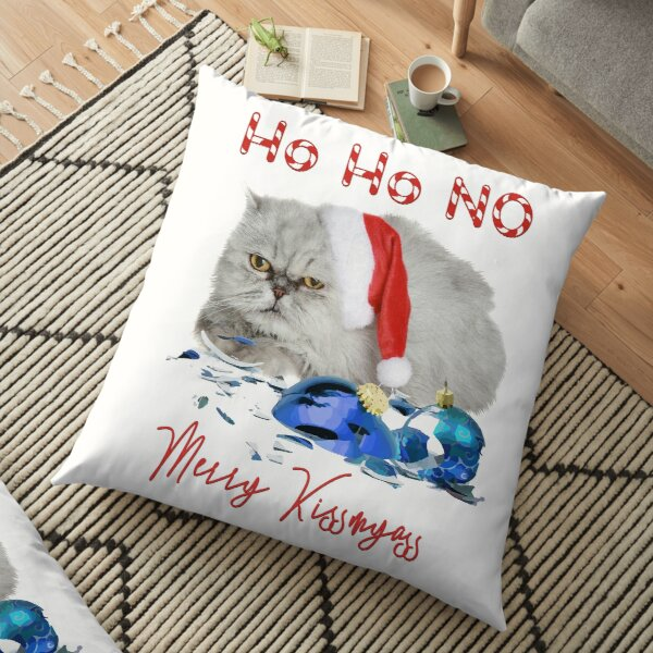 Funny Christmas Cat Merry Kissmyass Floor Pillow