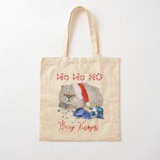 Funny Christmas Cat Merry Kissmyass Cotton Tote Bag