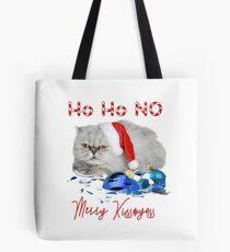 Funny Christmas Cat Merry Kissmyass Tote Bag
