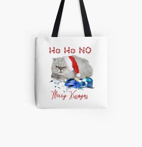 Funny Christmas Cat Merry Kissmyass All Over Print Tote Bag