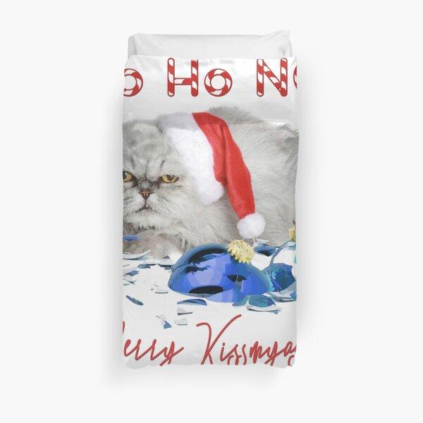 Funny Christmas Cat Merry Kissmyass Duvet Cover