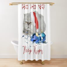 Funny Christmas Cat Merry Kissmyass Shower Curtain