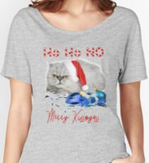 Funny Christmas Cat Merry Kissmyass Relaxed Fit T-Shirt