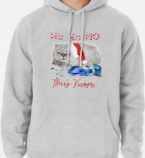 Funny Christmas Cat Merry Kissmyass Pullover Hoodie