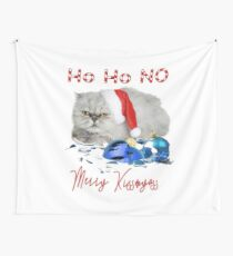 Funny Christmas Cat Merry Kissmyass Wall Tapestry
