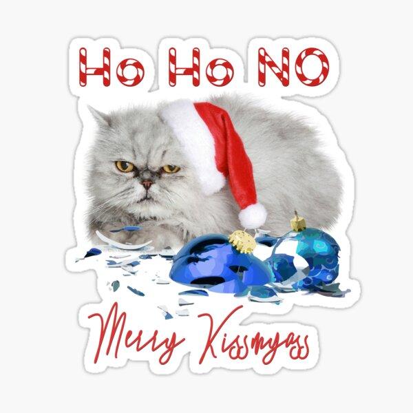 Funny Christmas Cat Merry Kissmyass Sticker