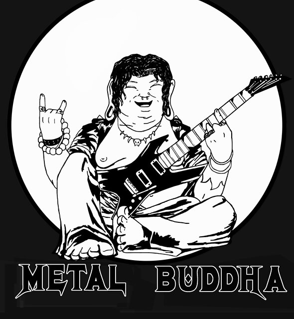 Metal Buddha Black T-shirt by ClockHand